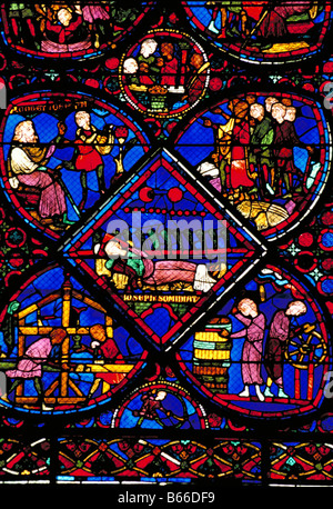 Elk165 2212 France Central Region Bourges Cathedral St Etienne 12th c stained glass window - Stock Photo