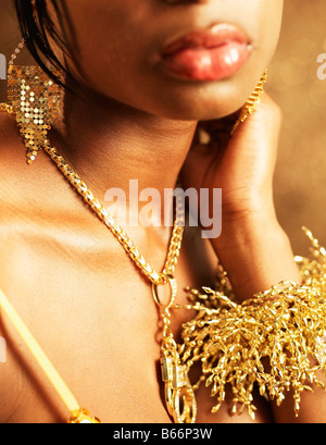 Young Woman Wearing Golden Necklace
