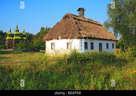 Ukrainian traditional rural house, Pirogovo (Pyrohiv), open air museum of national architecture, near Kiev, Ukraine - Stock Photo