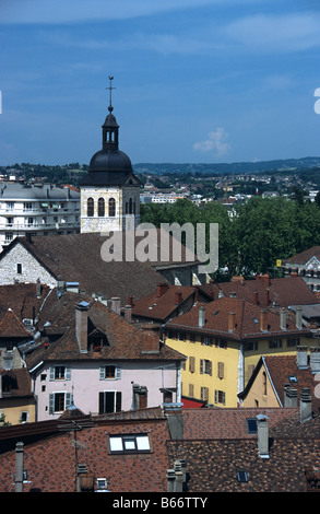 View over old Annecy and Saint Maurice Church (c15th), Annecy, Haute Savoie, France - Stock Photo