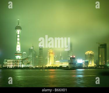 Pudong Skyline at Night - Stock Photo