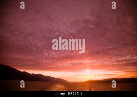 Sunset at inside passage - Stock Photo