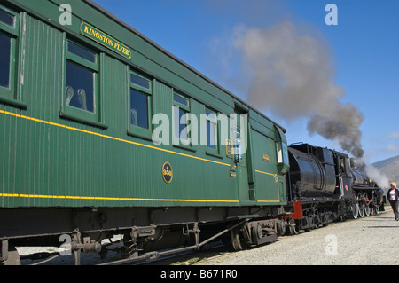 A steam train tourist special in New Zealand - The Kingston Flyer - Stock Photo