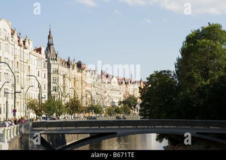 Art nouveau buildings and river in prague - Stock Photo