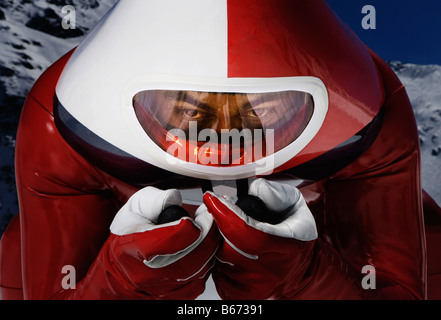 Speed skier direct to camera - Stock Photo