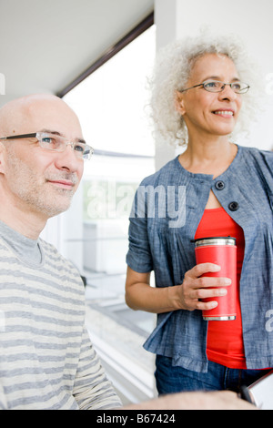 2 business people talking - Stock Photo