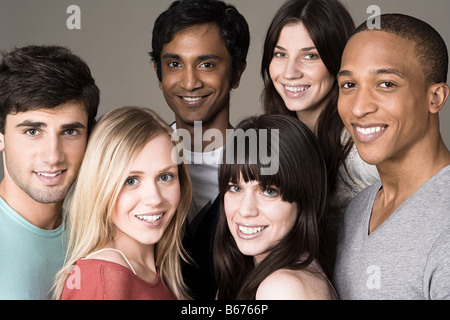 Portrait of a group of young friends - Stock Photo