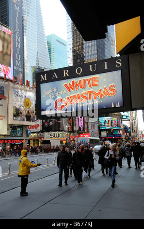 Christmas musical production sign outside the Marquis Theater Broadway New York America USA Irving Berlins White - Stock Photo
