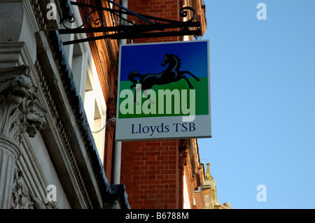 Lloyds TSB hanging signage outside the entrance to the branch on Horsefair Street in Leicester City - Stock Photo