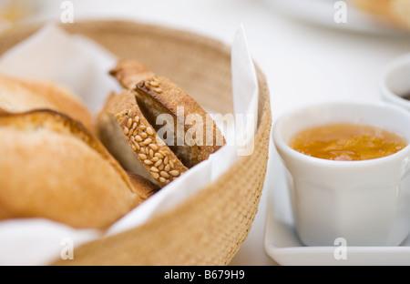 Toast and marmalade - Stock Photo