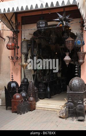 Lantern Shop in the Medina Marrakesh Morocco - Stock Photo