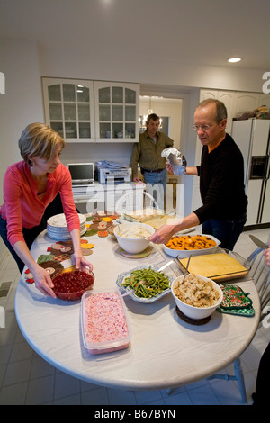 West Bloomfield Michigan Thanksgiving dinner is prepared in a family s kitchen - Stock Photo