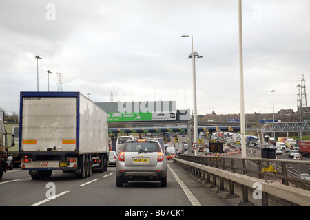 Traffic jam at the Dartford crossing toll booths, Dartford Kent, England - Stock Photo