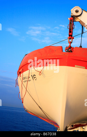 Lifeboat, water travel, ferry from Finland to Sweden in Baltic sea - Stock Photo