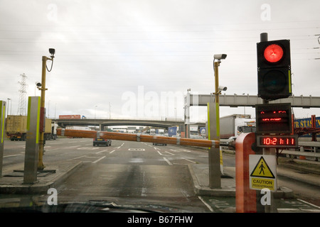 A red traffic light at the Dartford Crossing toll tolls, Dartford Kent, England UK - Stock Photo