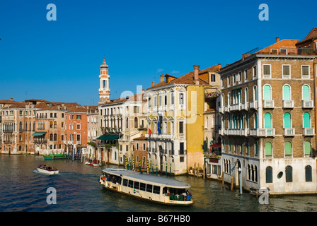 Boats on Grande Canal in Venice Italy Europe - Stock Photo