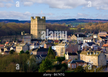 Yorkshire - Richmond castle and town, North Yorkshire, England, UK - Stock Photo