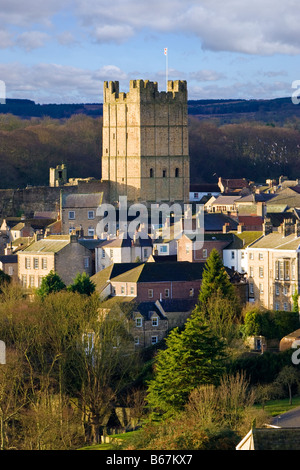 Richmond Castle and town North Yorkshire, England, UK - Stock Photo