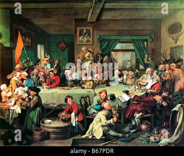 An Election Entertainment William Hogarth a scene of treats and upsets during the English General Election of 1754 - Stock Photo