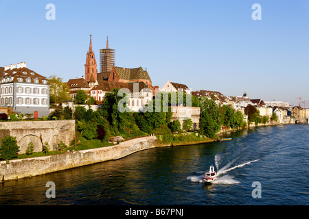 View of the River Rhine with Basel Muenster in the background, Basel, Switzerland - Stock Photo