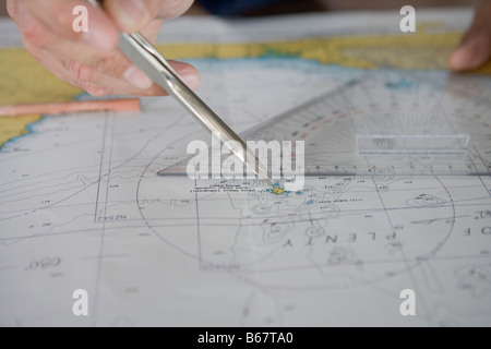 Charting course for white island, aboard MS Bremen, Bay of Plenty, North Island, New Zealand - Stock Photo