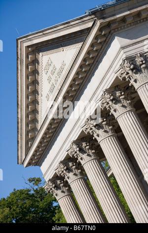 Columns of Meininger Theater Theatre, Meiningen, Rhoen, Thuringia, Germany - Stock Photo