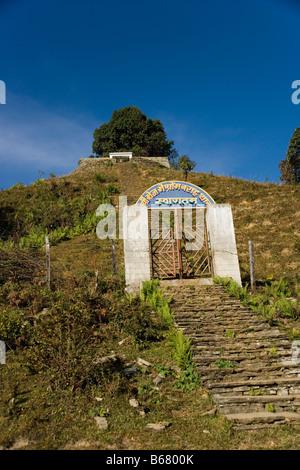 Baraha Buddhist temple above Ghandruk village in the Annapurna range, Himalayas, Nepal - Stock Photo