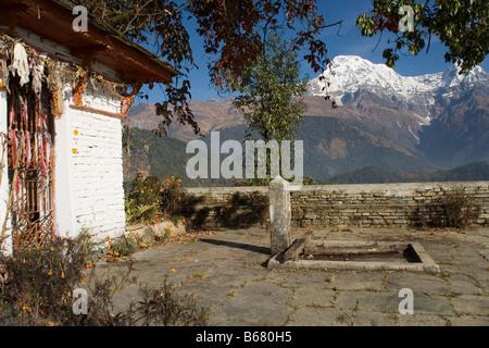 Annapurna south Mountain from Baraha Buddhist temple above Ghandruk village in the Annapurna range, Himalayas, Nepal - Stock Photo
