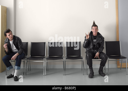 Rebel and Punk in Waiting Area - Stock Photo