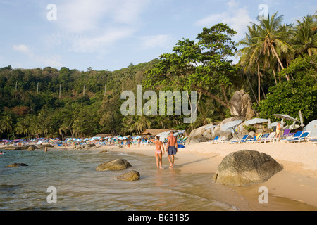 View over Laem Singh Beach, between Hat Surin and Hat Kamala, Phuket, Thailand, after the tsunami - Stock Photo