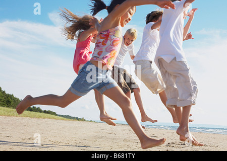 Kids Running and Playing on the Beach, Elmvale, Ontario, Canada