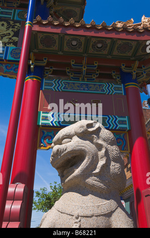Gate of Harmonious Interest and lion statue 'China Town' Victoria 'Vancouver Island' 'British Columbia' Canada - Stock Photo