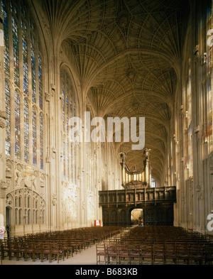 King's College Chapel Cambridge. Interior to east - Stock Photo