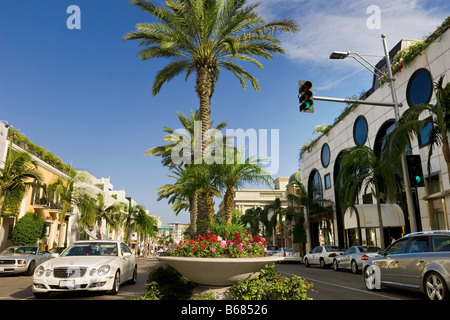 View of Rodeo Drive, Beverly Hills, California, USA - Stock Photo