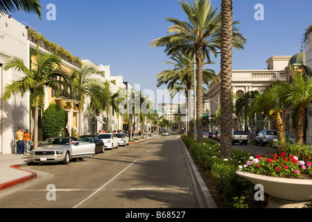 View Down Rodeo Drive, Beverly Hills, California, USA - Stock Photo