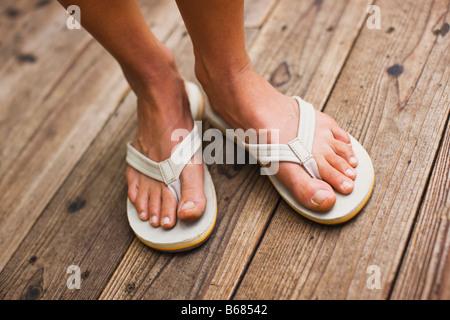 Closeup of Woman Wearing Sandles