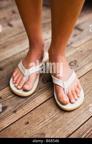 Closeup of Woman Waearing Sandles
