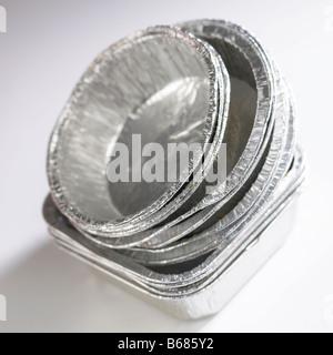 SCRAP METAL ALUMINUM FOIL FOOD TRAYS - Stock Photo