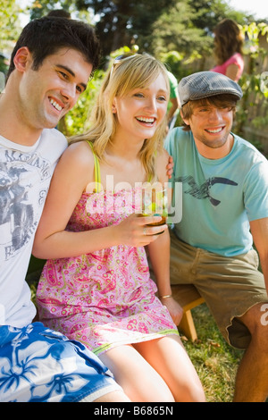 Friends at Backyard Barbeque, Portland, Oregon, USA - Stock Photo