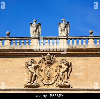 Pope Paul V's coat of arms on the Hotel des Monnaies, Avignon, Provence, France - Stock Photo