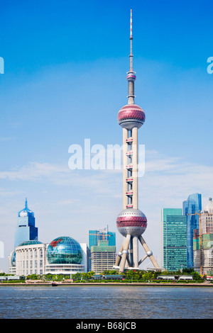 Buildings at the waterfront, Oriental Pearl Tower, Shanghai, China - Stock Photo
