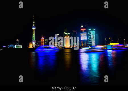 Buildings at the waterfront, Oriental Pearl Tower, Huangpu River, Lujiazui, The Bund, Shanghai, China - Stock Photo