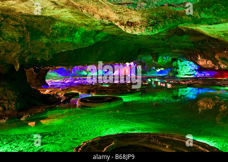 Rock formations in a cave, Lotus cave, XingPing, Yangshuo, Guangxi Province, China - Stock Photo
