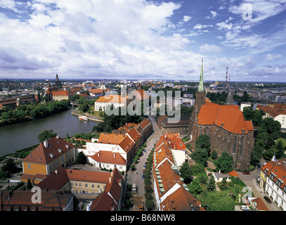 View of River Oder and city skyline of Wroclaw, Poland from Cathedral spire - Stock Photo
