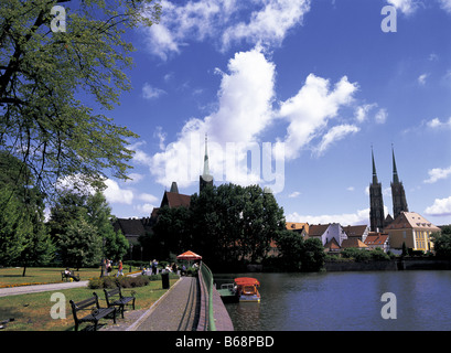 Cathedral and River Oder Wroclaw Breslau Poland - Stock Photo