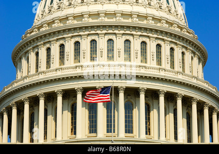Detail of the central dome of the United States Capitol with the Stars and Strips flag, Washington, DC., USA - Stock Photo