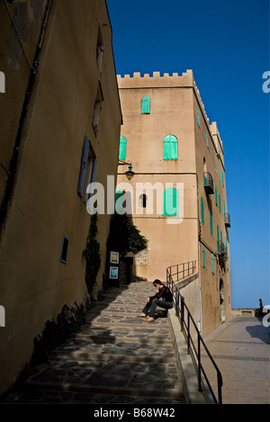 Street Scene in Collioure, Near Elise Notre Dame des Anges, Pyrennees-Orientales, France - Stock Photo