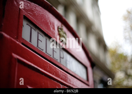 British red telephone box, London - Stock Photo