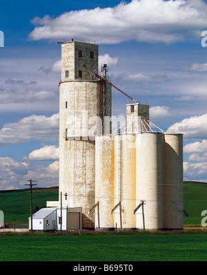 WASHINGTON - Grain silo in farm fields near the community of Steptoe in the Palouse region of Eastern Washington. - Stock Photo