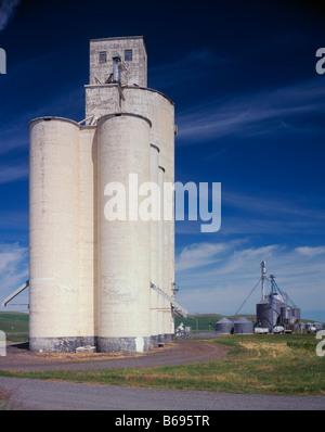 WASHINGTON - Grain silos in farm fields near the town of Steptoe in the Palouse area. - Stock Photo